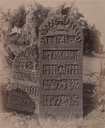 Close view of two inscribed viragals (monumental memorial stones), Murdesvara.